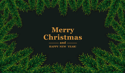 Christmas frame.  Vector template with green fir branches on dark background.