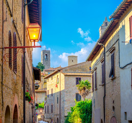 Street lights in the beautiful medieval town of San Gimmignano, Tuscany. Italy. Europe