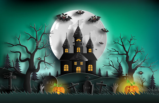 Paper art style of haunted house with tombstones, bats, pumpkins and full moon for banner, poster or background.