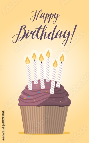 Supcake With Candle On Yellow Background Birthday Card Fichier