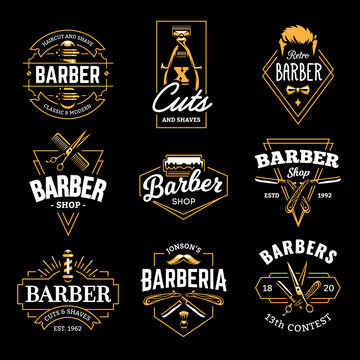 Barber Shop Vector Retro Emblems