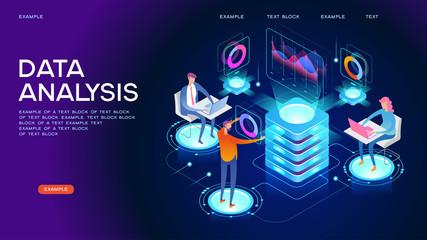 Data visualization isometric concept banner