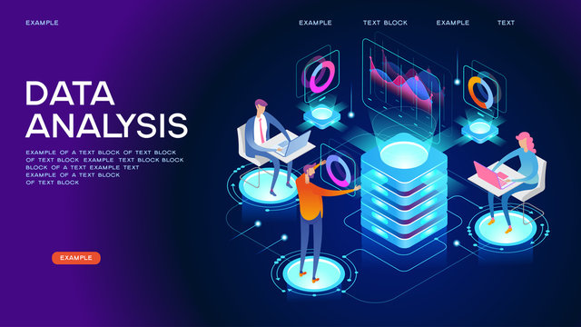 Data visualization isometric concept banner