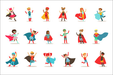Children Pretending To Have Super Powers Dressed In Superhero Costumes With Capes And Masks Set Of Smiling Characters