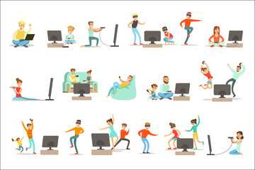 People Playing Video Games With High Tech Technologies Set Of Happy Cartoon Characters