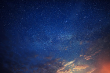 Night amazing sky with lot of shiny stars, natural abstract astro background