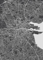 Monochrome detailed plan city of Dublin