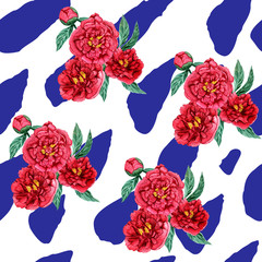 Seamless pattern watercolor flowers pionies. Color wild flowers illustration