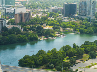 Colorado River Austin Texas aerial image