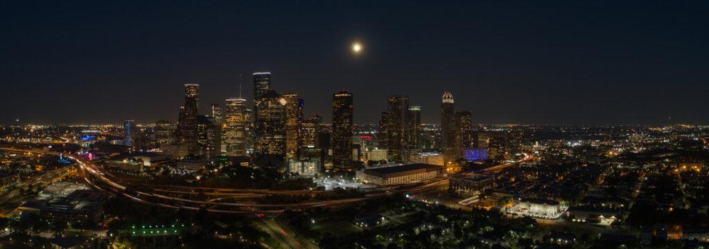 Aerial night panorama Houston Texas city downtown