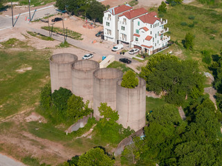 Aerial image old abandoned farm storage silos