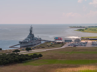 Aerial image USS ALABAMA Battleship Memorial Park