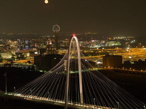 Aerial night photo Margaret Hunt Hill Bridge
