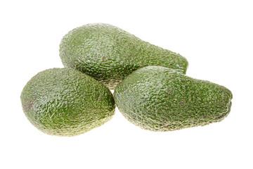 Three bright green avocado