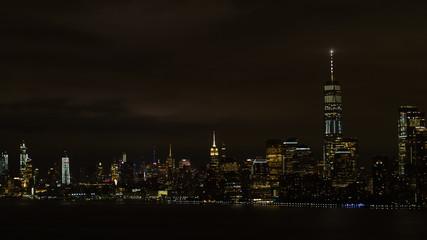 Aerial night image of New York City Manhattan at night