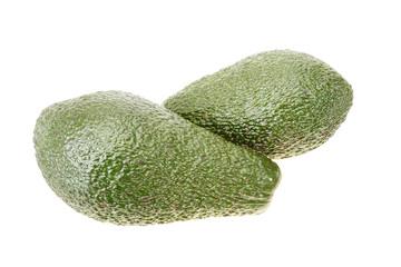 Two emerald green avocado