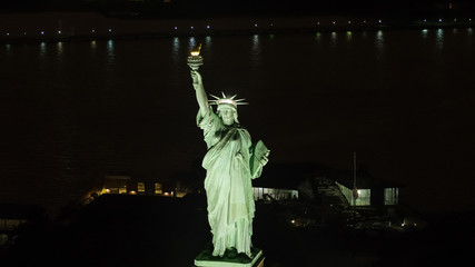 Aerial photo of the Statue of LIberty telephoto lens shot