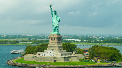 Aerial drone photo of the Statue of Liberty