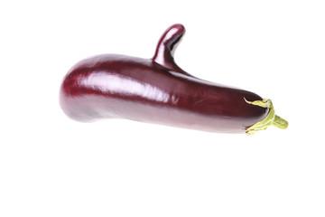 Single aubergine with big finger