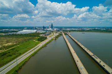 Aerial image bridges leadding to Downtown Mobile Alabama