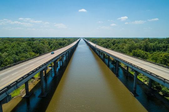 Aerial image Atchafalaya Basin Bridge