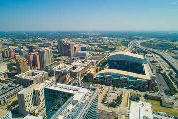 Aerial drone shot of Downtown Houston Texas