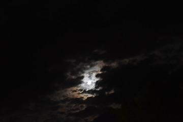 Visible moon at night at summer