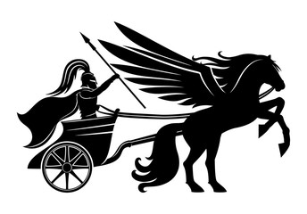 Pegasus and an ancient warrior with a spear in his chariot.