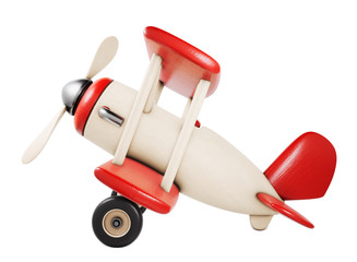 Wooden toy airplane slide view. 3D render illustration isolated on white background.