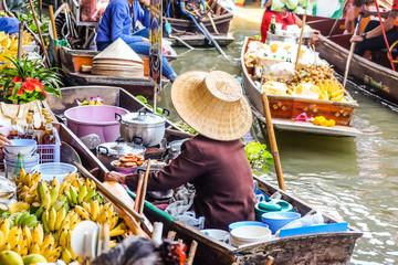 Poster Bangkok Food and drink sell at Damnoen Saduak floating market in Ratchaburi near Bangkok