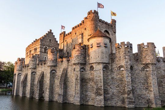 The Gravensteen castle at sunset