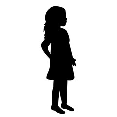 silhouette of baby, little girl in dress