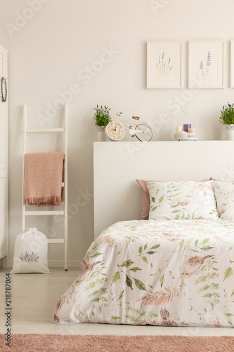Real Photo Of White Bedroom Interior With Bicycle Shape Clock Dirty