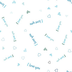 Light Blue, Green vector seamless texture with lovely hearts.
