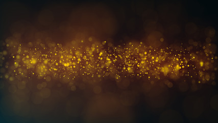 Glitter lights. Bokeh background with lots of blurred particles. Bright glowing defocused dust. Magic composition. 3d rendering