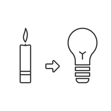 Evolution of light. Candle and light bulb. Lighting before and now. Concept of progress. Simple linear style icon. Editable stroke.