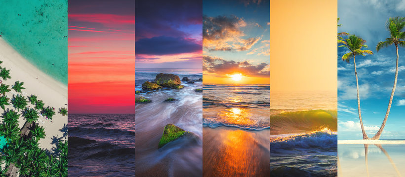 Collage of summer sea and beach images - nature and travel background
