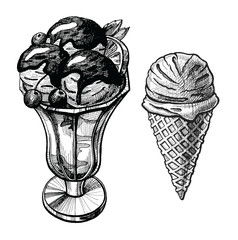 Ice cream hand drawn illustration set