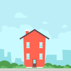 Red flat house icon