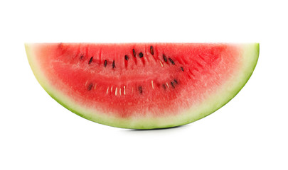 Slice of fresh watermelon on white background