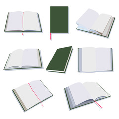 Open and closed books, diary, notepad vector flat icons set isolated on white background.