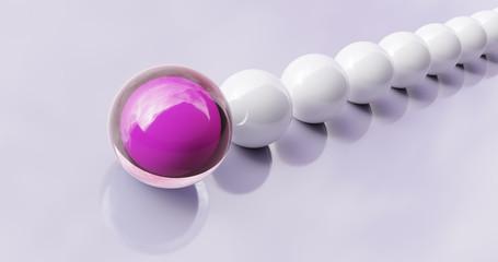Pinke Kugel im Fokus. Symbol einer Anführerin oder Chefin mit Ihrem Team.