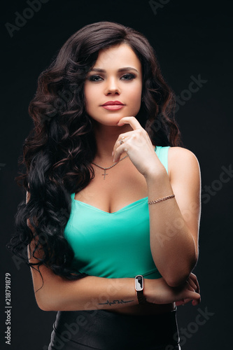 Portrait of beautiful and sexy girl with seductive figure