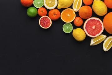 Fresh ripe sweet assorted exotic fruits frame