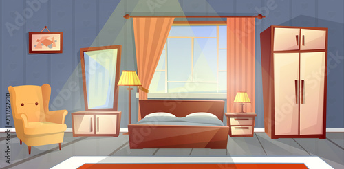 Vector Cartoon Interior Of Cozy Bedroom With Window Living Apartment Furniture Double Bed