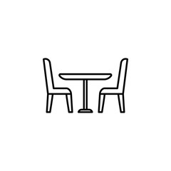 table and chairs icon. Element of furniture for mobile concept and web apps. Thin line  icon for website design and development, app development. Premium icon