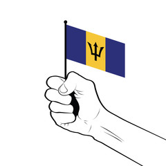 Clenched fist raised in the air holding the national flag of Barbados