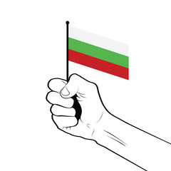 Clenched fist raised in the air holding the national flag of Bulgaria