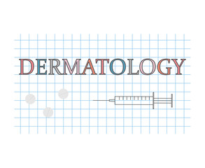 dermatology word on checkered paper sheet- vector illustration