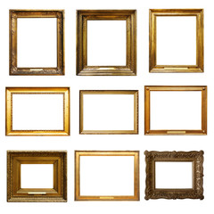 Set of  picture  gold wooden frame for design on  isolated background